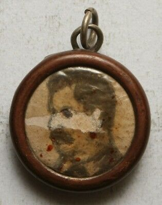 USSR Soviet Union STALIN MEDAL Hand Painted Miniature Portrait in reliquary case