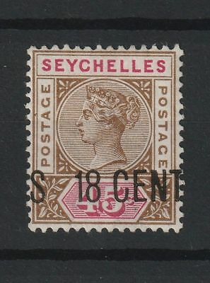 Seychelles 1896 SG # 26 surcharge shifted vf MINT
