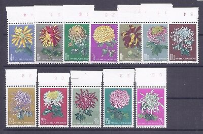China PRC 1960 Chrysanthemums PART SET ONLY of 12 top marginals MN, S44