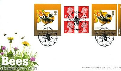 2015 BEES GREAT BRITAIN SELF ADHESIVE BOOKLET ROYAL MAIL FDC B'HAM PMK vgc