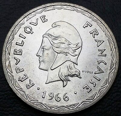 1966 New Hebrides 100 Francs 83.5% Silver Coin KM# 1 - Mint Condition