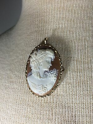 Vintage Shell Cameo 14k 585 Necklace Pin