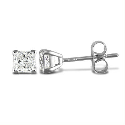 Ladies Solid 18ct White Gold 4 Claw Princess 1ct Diamond Solitaire Stud Earrings
