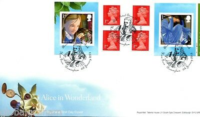 2015 Alice Wonderland Great Britain Self Adhesive Booklet Royal Mail Fdc B'ham