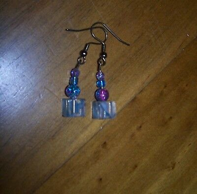 """Earrings For Antique Dolls - Suitable For 22"""" - 30""""  Dolls - Cubed Glass"""