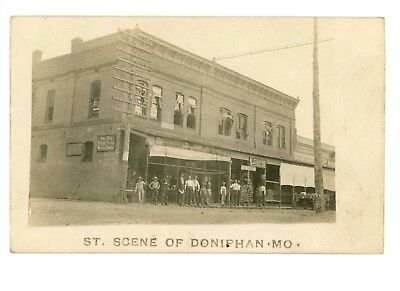 RPPC Street Scene and Stores Doniphan, Missouri c 1907