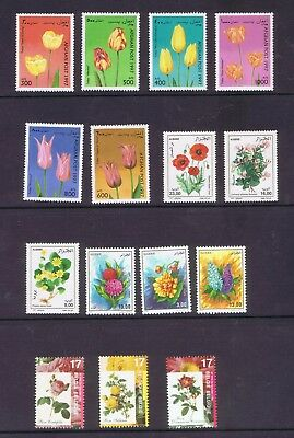 Algeria Afghanistan Belgium 15  beautiful Flowers stamps unmounted mint MNH