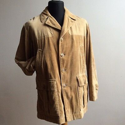 vtg 60s INVERTERE NEWTON ABBOT CORDUROY HUNTING JACKET RED WOOL LINING 40 102CM