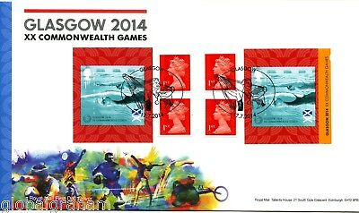 2014 C'wealth Games Great Britain Self Adhesive Retail Booklet Royal Mail Fdc