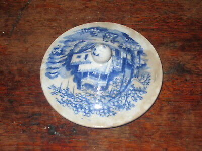 Old Blue & White Transfer Printed  Lid Early 19Th Century