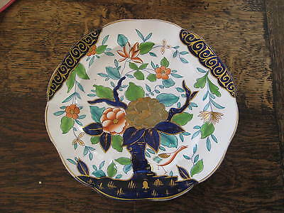 Regency Period English Polychrome & Gilt Plate Bird Tree Flowers