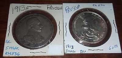 Lot Of 2 PRUSSIA (German State) 3 Mark 1913 Silver & 1913 A 5 Mark Coins