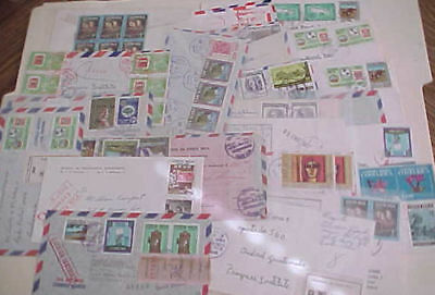 COSTA RICA  25 REGISTERED SMALL COVERS  1970's MOSTLY TO USA