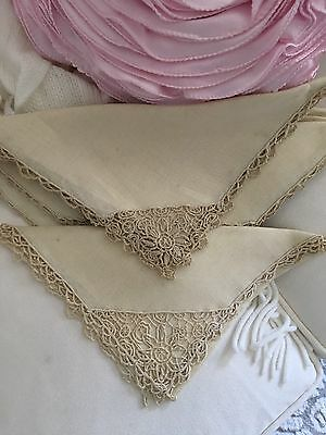 8 Gorgeous Vintage Italian Linen And Needle Lace Dinner Napkins