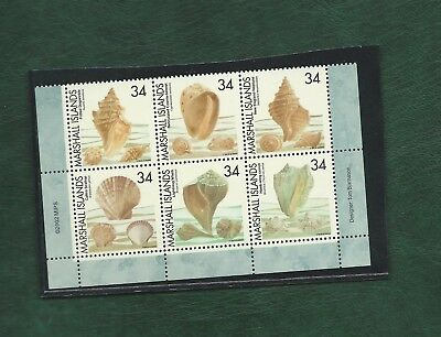Marshall Islands 2002 block of 6 se-tenant sea shells stamps unmounted mint MNH
