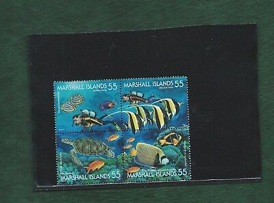 Marshall Islands 1995 block of 4 se-tenant Fish stamps unmounted mint MNH