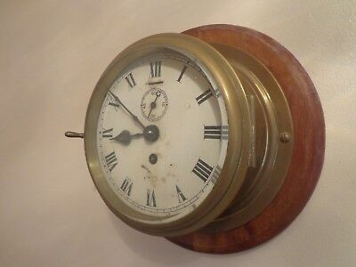 Antique Vintage Heavy Brass Ships Clock With Key