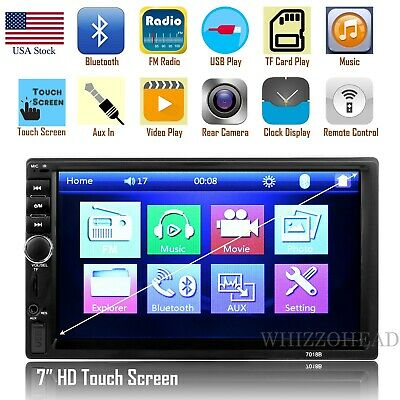 Bluetooth Car Stereo Radio FM Pleayer 7'' HD MP5 Touch Screen with Free Camera