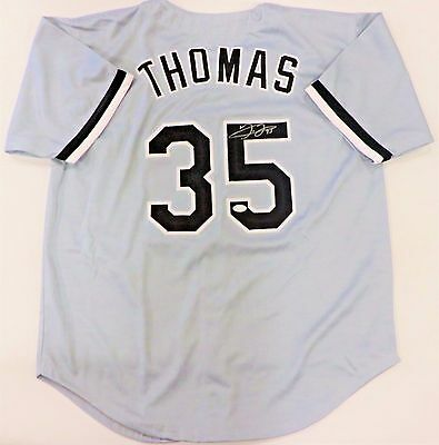 Frank Thomas Signed White Sox Custom Grey Jersey Jsa Authenticated