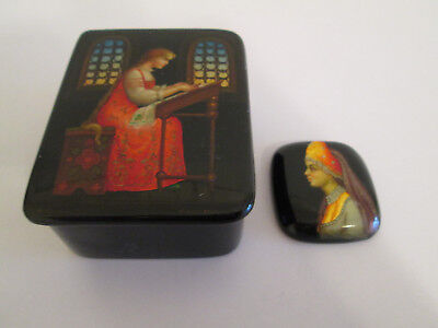 Vintage Fedoskino Handpainted Russian Ussr Lacquer Box & Brooch Signed Women