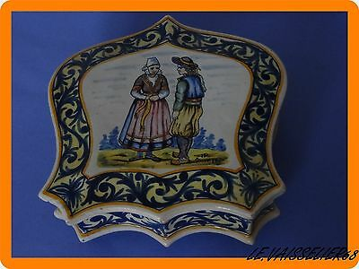 Antique French Faience Hr Quimper Large Box Breton