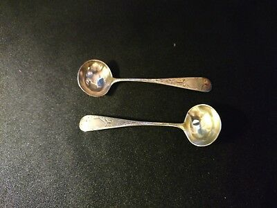 2 Bailey Etched Cut Sterling Salt Spoons