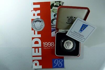 1998 ER II Piedfort Silver Proof NHS 50p Coin Royal Mint cased
