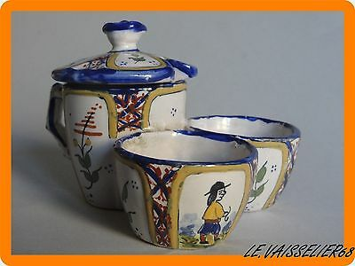 Antique Salt Cellar + Mustard French Faience Hb Quimper