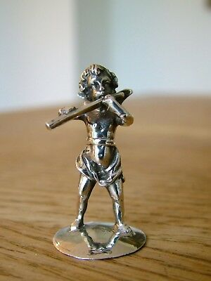 ANTIQUE hm1907 SOLID SILVER BERTHOLD MULLER CHERUB BAND FLUTE PLAYER CAST HANAU
