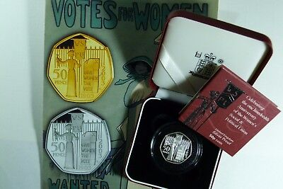 2003 ER II Silver Proof Suffragette 50p Coin Royal Mint cased