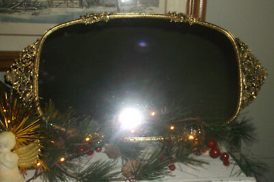 """ANTIQUE VANITY MIRROR TRAY INTRICATE GOLD FILIGREE FLORAL EDGING 20"""" x 10"""" oval"""