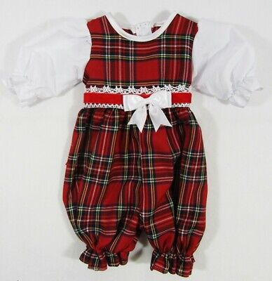 Baby Babies Boy Boys Romper All In One Red Tartan Special Occasion NB 3 6 12 M
