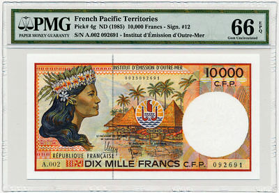 French Pacific Territories - 10,000 Francs ND/1985 - P4g * PMG Gem UNC 66 EPQ