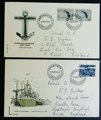 Denmark 1967 Two Shipping theme Illustrated covers 80/90 Ore