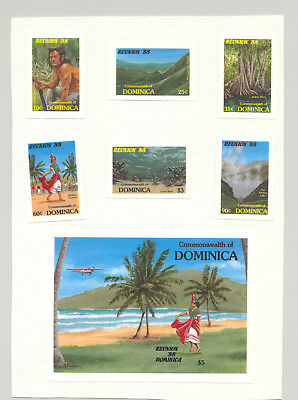 Dominica #1074-1080 Tourism, Dancers 6v & 1v S/S Chromalin Proofs on Card