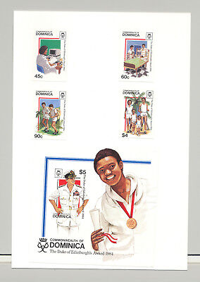 Dominica #896-900 Computers, Medicine, Running 4v & 1v S/S Imperf Proofs on Card