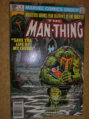 MAN-THING # 9 2nd SERIES NEWSSTAND ED VARIANT LARRY HAMA 50c MARVEL COMIC BOOK