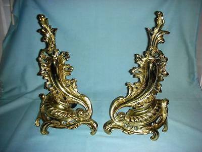 Pair Vintage/Antique style Brass Rococo Louis XV/Victorian Andirons