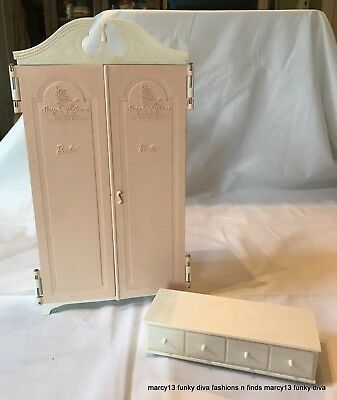 Vintage 1964 Susie Goose Pink Armoire Wardrobe & White  Hope Chest w Drawer