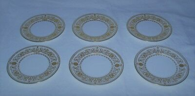 """Royal Worcester """"hyde Park"""" Six Gilded Tea Plates ~ Perfect Unused"""