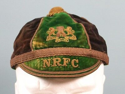 Vintage CHRISTYS Rugby Cap NRFC Northampton Coat of Arms