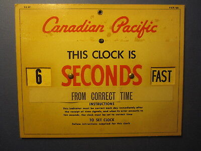 Old Vintage - CANADIAN PACIFIC - STEAMSHIP - Cardboard Time Correction SIGN
