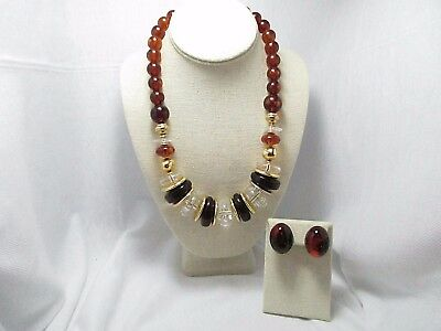 Chunky Root Beer Brown Lucite Plastic Necklace & Clip Earrings