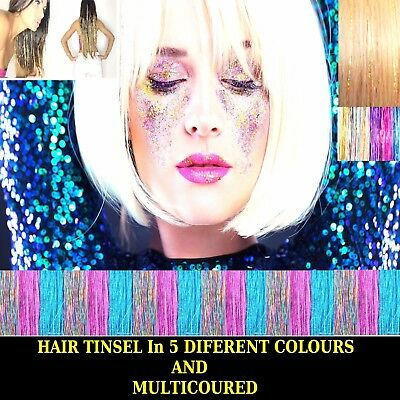 "100 x Strands  Holographic Sparkle Hair Tinsel Extensions Dazzles - 48"" Long"