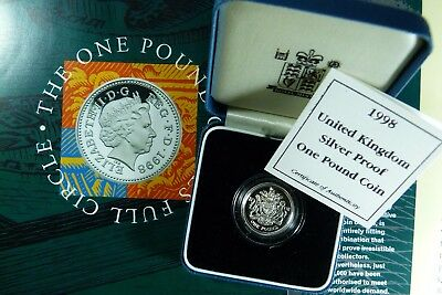 1998 ER II Silver Proof Royal Arms £1 Coin Royal Mint cased