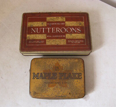 Vintage Tins - Nutteroons Biscuits and Maple Flake Tobacco
