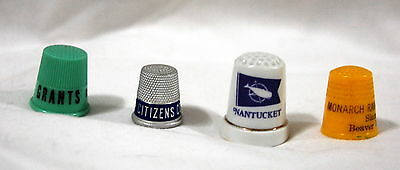 Vintage Sewing Plastic/Metal/ Porcelain  Advertising Thimble - Lot of 4