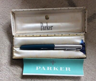 Vintage Early Boxed Teal Parker 51 Fountain Pen English C. 1950's VGC