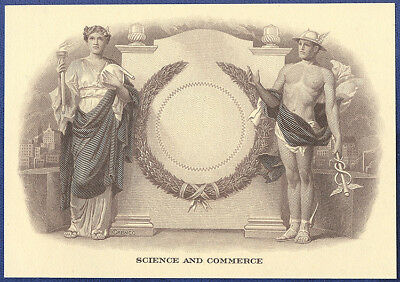 VINTAGE AMERICAN BANK NOTE Co. ENGRAVING: SCIENCE & COMMERCE