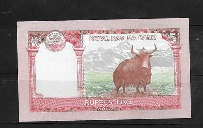 Nepal 2017 5 Rupees Crisp Mint New Banknote Paper Money Currency Bill Note
